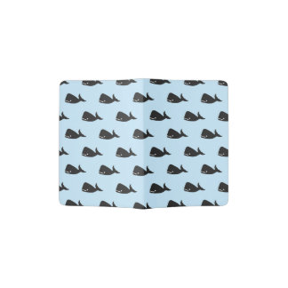 Pequeño modelo lindo de la ballena de azules porta pasaporte