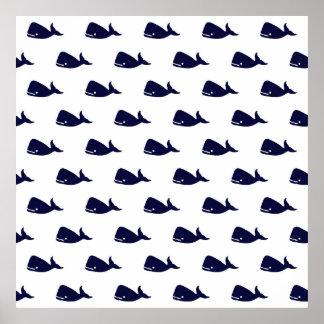 Pequeño modelo lindo de la ballena de azules póster