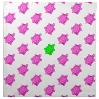 Pequeño modelo lindo de la tortuga rosada/verde servilletas imprimidas