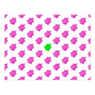 Pequeño modelo lindo de la tortuga rosada/verde postales