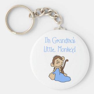 Pequeño mono de las abuelas azules llavero redondo tipo pin