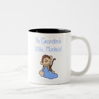 Pequeño mono de las abuelas azules tazas de café