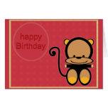 pequeño mono del feliz cumpleaños tarjetas