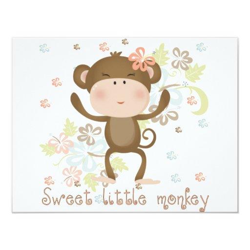 Pequeño mono dulce invitaciones personales