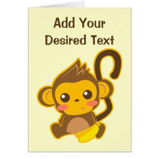 Pequeño mono lindo tarjeta