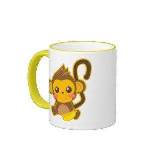 Pequeño mono lindo taza de dos colores