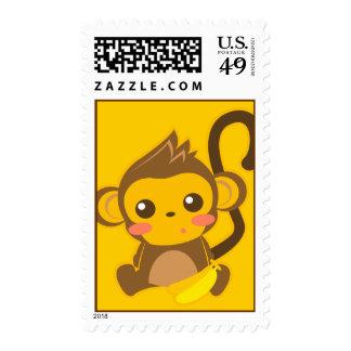 Pequeño mono lindo timbre postal