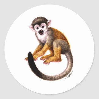 Pequeño mono pegatina redonda