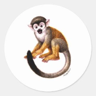 Pequeño mono pegatinas redondas