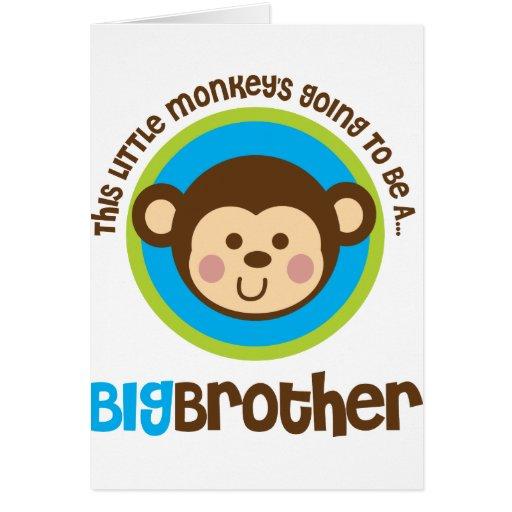 Pequeño mono que va a ser un hermano mayor felicitaciones