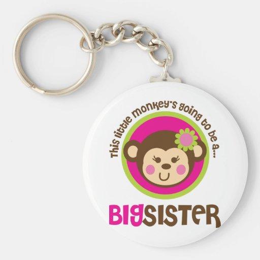 Pequeño mono que va a ser una hermana grande llaveros