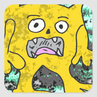Pequeño monstruo #3 de los robos pegatina cuadradas personalizadas