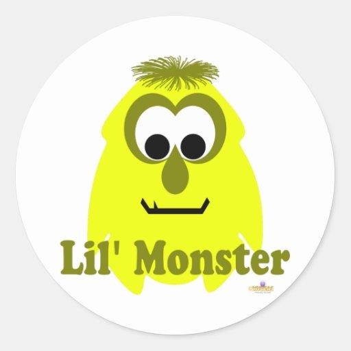 Pequeño monstruo de Lil de la mostaza de los Pegatina Redonda