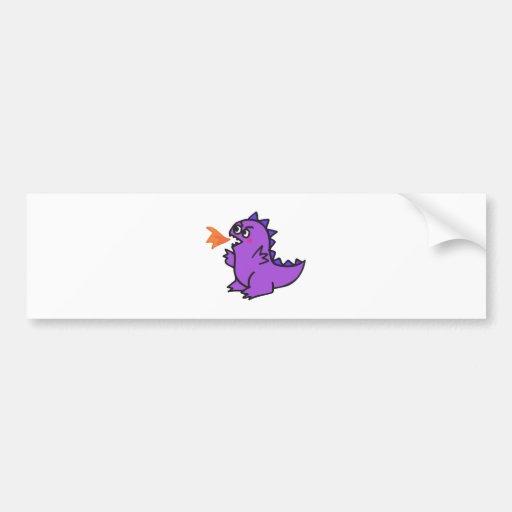 pequeño monstruo púrpura lindo del dragón del fueg pegatina de parachoque