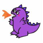pequeño monstruo púrpura lindo del dragón del fueg escultura fotografica