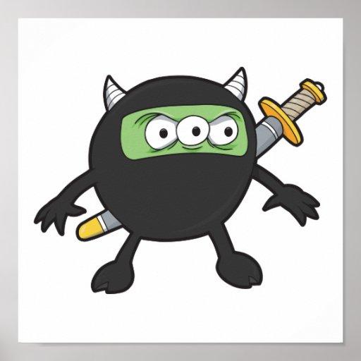 pequeño monstruo tonto del ninja póster