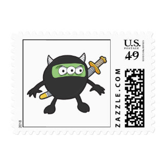 pequeño monstruo tonto del ninja timbres postales