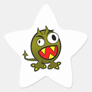 Pequeño monstruo verde enojado divertido colcomania cuadrada