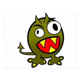 Pequeño monstruo verde enojado divertido tarjeta postal