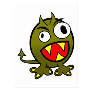 Pequeño monstruo verde enojado divertido tarjetas postales