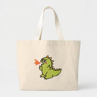 pequeño monstruo verde lindo del dragón del fuego bolsa de mano
