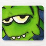 Pequeño monstruo verde Mousepad Tapete De Raton