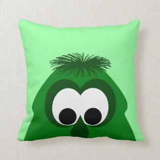 Pequeño monstruo verde oscuro tonto cojín