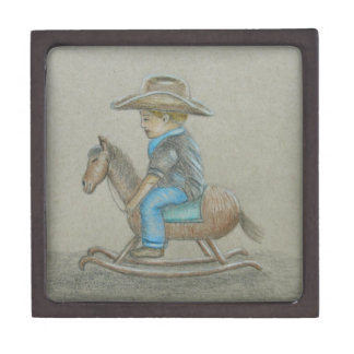 pequeño montar a caballo del vaquero en caballo cajas de joyas de calidad