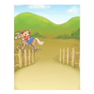 pequeño muchacho oscilante del vaquero que monta tarjetones