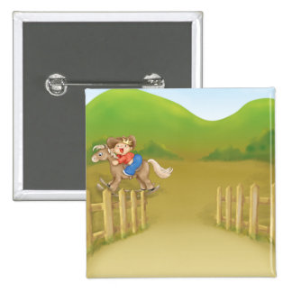 pequeño muchacho oscilante del vaquero que monta pin cuadrada 5 cm
