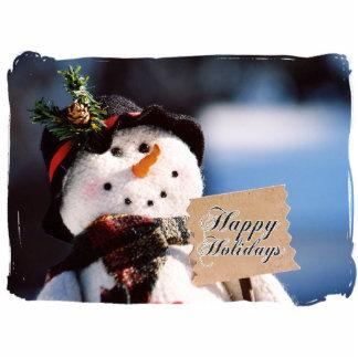 Pequeño muñeco de nieve con la muestra adaptable adorno fotoescultura