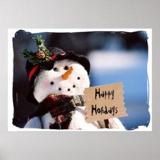 Pequeño muñeco de nieve con la muestra adaptable poster