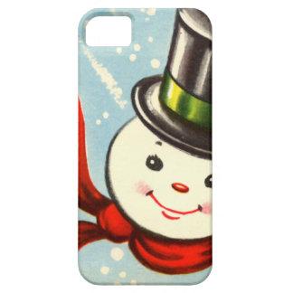 Pequeño muñeco de nieve retro lindo iPhone 5 cárcasa