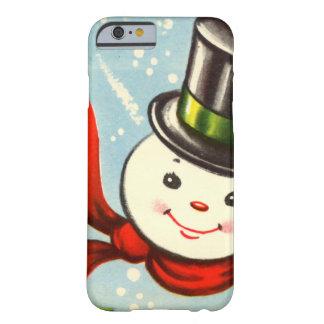 Pequeño muñeco de nieve retro lindo funda barely there iPhone 6