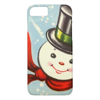 Pequeño muñeco de nieve retro lindo funda iPhone 7