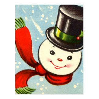 Pequeño muñeco de nieve retro lindo tarjetas postales