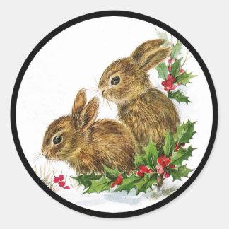Pequeño navidad de los conejitos pegatina redonda