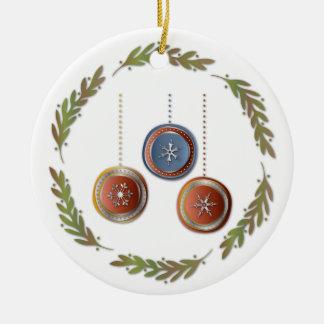 Pequeño navidad guirnalda y ornamento redondo de adorno redondo de cerámica