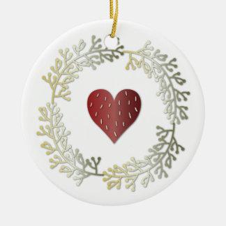 Pequeño navidad guirnalda y ornamento redondo del adorno redondo de cerámica