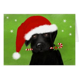 Pequeño navidad Labrador del ayudante de Santa Tarjeta De Felicitación
