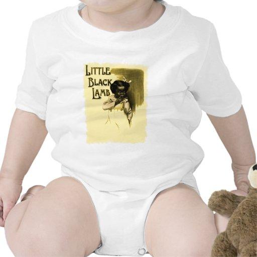 Pequeño negro negro del vintage del cordero trajes de bebé