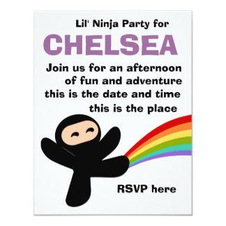 Pequeño Ninjas lindo Invitación 10,8 X 13,9 Cm