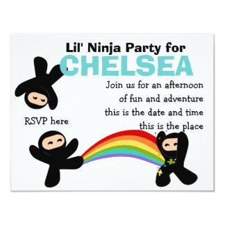 """Pequeño Ninjas lindo Invitación 4.25"""" X 5.5"""""""