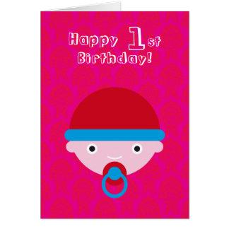 Pequeño niño lindo, feliz cumpleaños tarjeta de felicitación