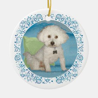 Pequeño ornamento blanco de Bichon Frise del perro Ornamento Para Reyes Magos