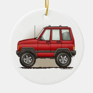 Pequeño ornamento de cuatro ruedas del coche de adorno navideño redondo de cerámica