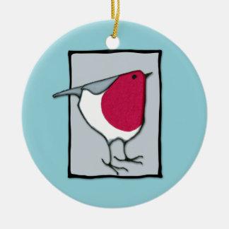 Pequeño ornamento del gris del petirrojo adorno navideño redondo de cerámica