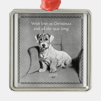 Pequeño ornamento del navidad del perro de revesti adorno para reyes
