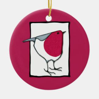Pequeño ornamento del petirrojo adorno navideño redondo de cerámica