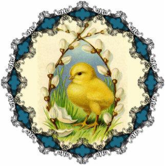 Pequeño ornamento del polluelo fotoescultura vertical